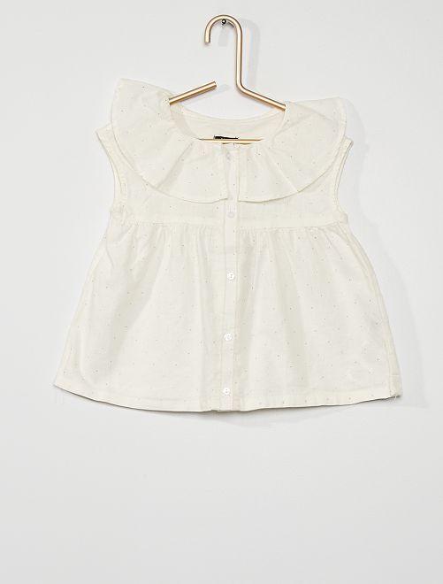 Blusa de lino y algodón                                         BLANCO
