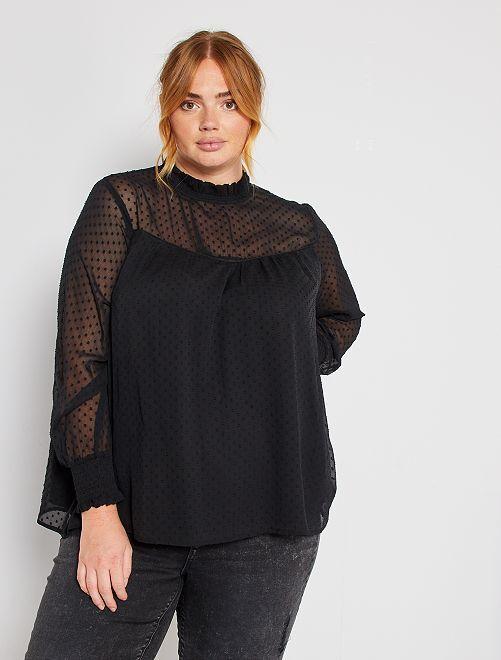 Blusa de plumeti                                         negro