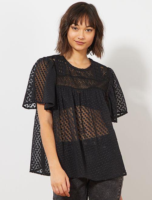 Blusa de plumeti y encaje                                         negro