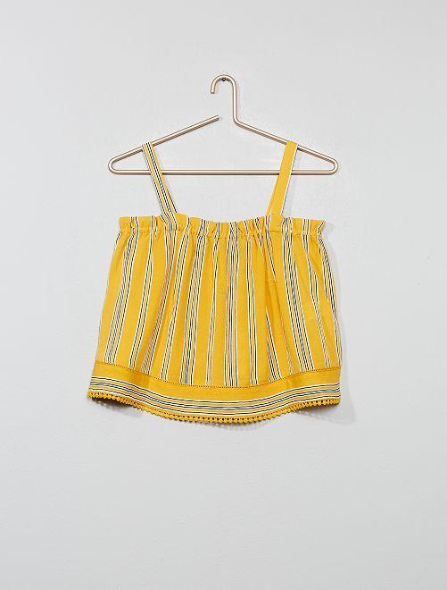 Blusa de rayas con detalle de macramé                                                     AMARILLO