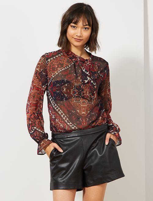 Blusa estampada con cuello lazado                             MARRON Mujer talla 34 a 48