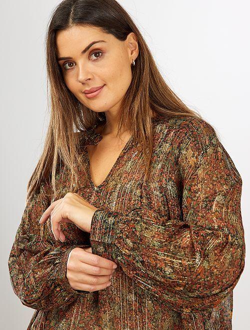 Blusa estampada con hilo brillante                             NEGRO