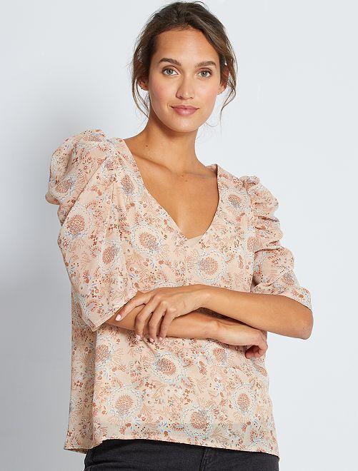 Blusa estampada con manga abullonada                             BEIGE