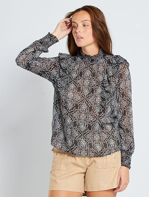 Blusa estilo victoriano 'eco-concepción'                                                                 NEGRO