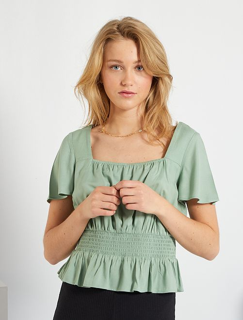 Blusa fruncida                                                     verde gris