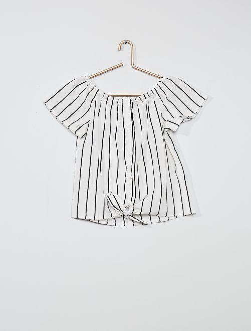 Blusa ligera con cuello Bardot                             BLANCO