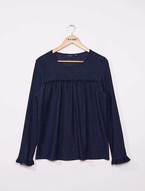 Blusa lisa de punto con textura                                                                             azul
