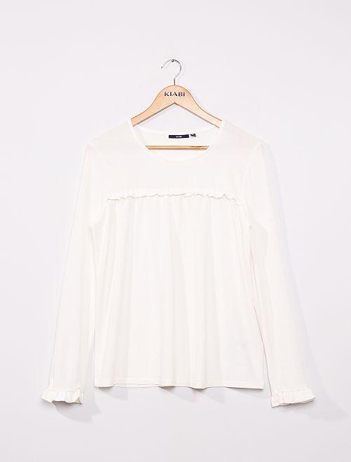 Blusa lisa de punto con textura                                                                             blanco nieve