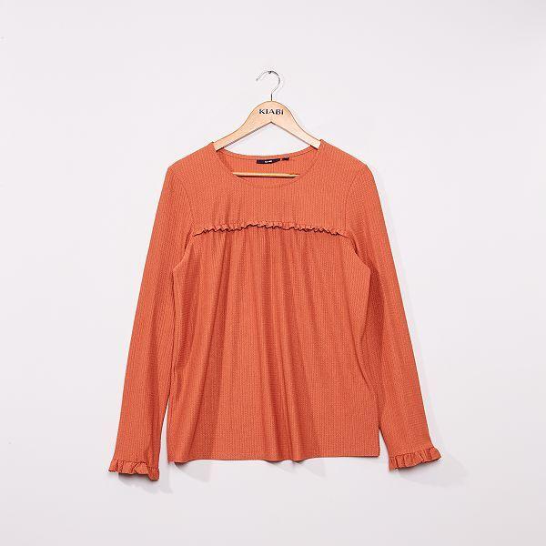 Blusa lisa de punto con textura Mujer talla 34 a 48