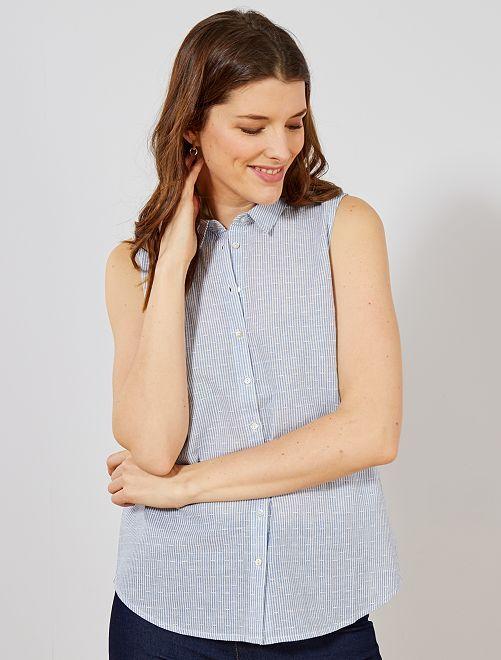 Blusa sin mangas                                                     a rayas azul Mujer talla 34 a 48