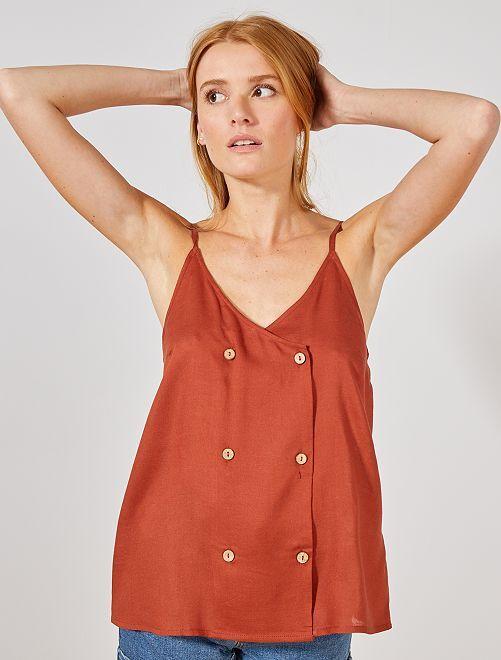 Blusa vaporosa abotonada                                                                 rojo ocre Mujer talla 34 a 48