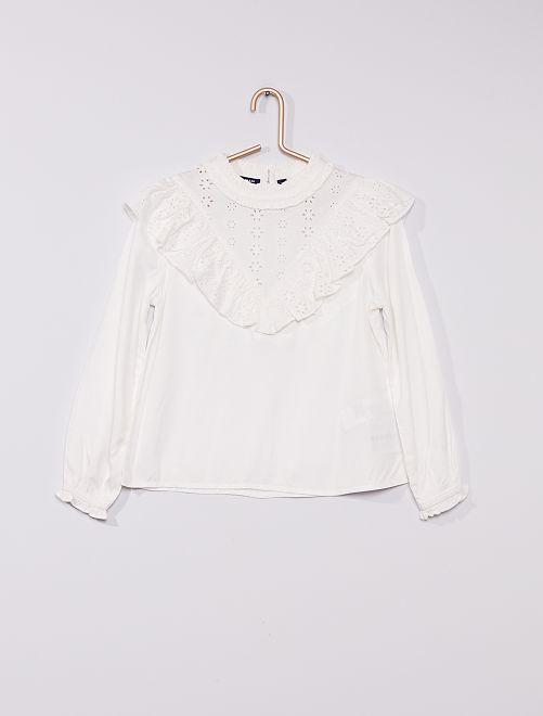 Blusa vaporosa con bordados                     blanco nieve