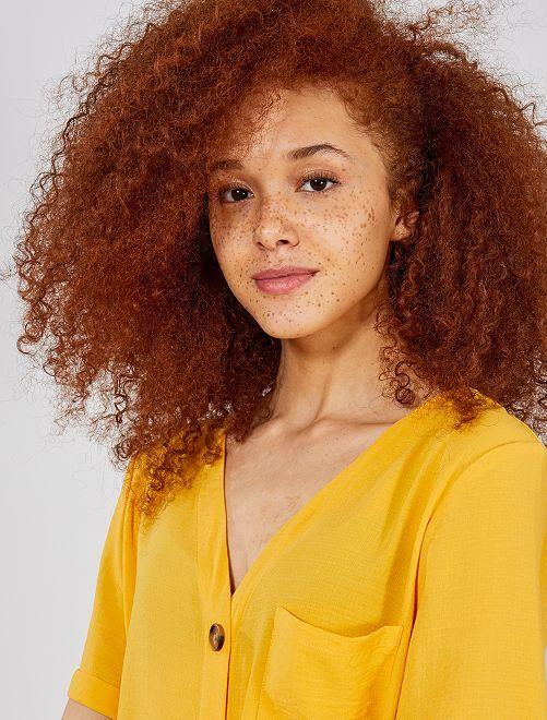 Blusa vaporosa con botones                                                                 AMARILLO Mujer talla 34 a 48