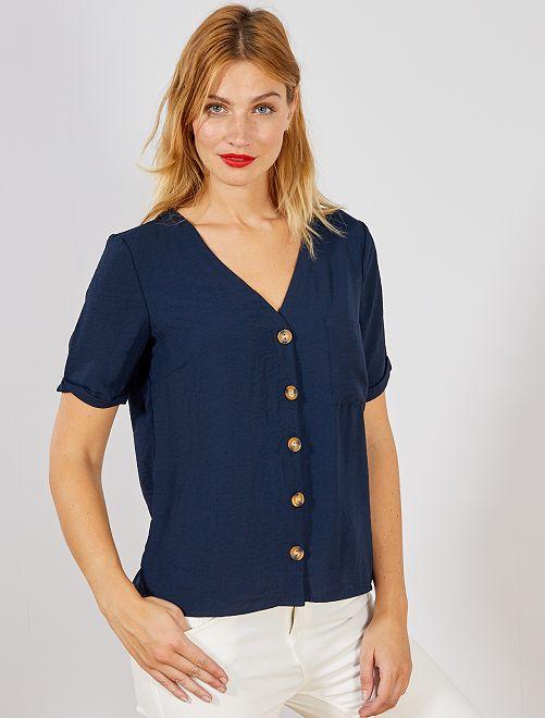 Blusa vaporosa con botones                                                     AZUL Mujer talla 34 a 48