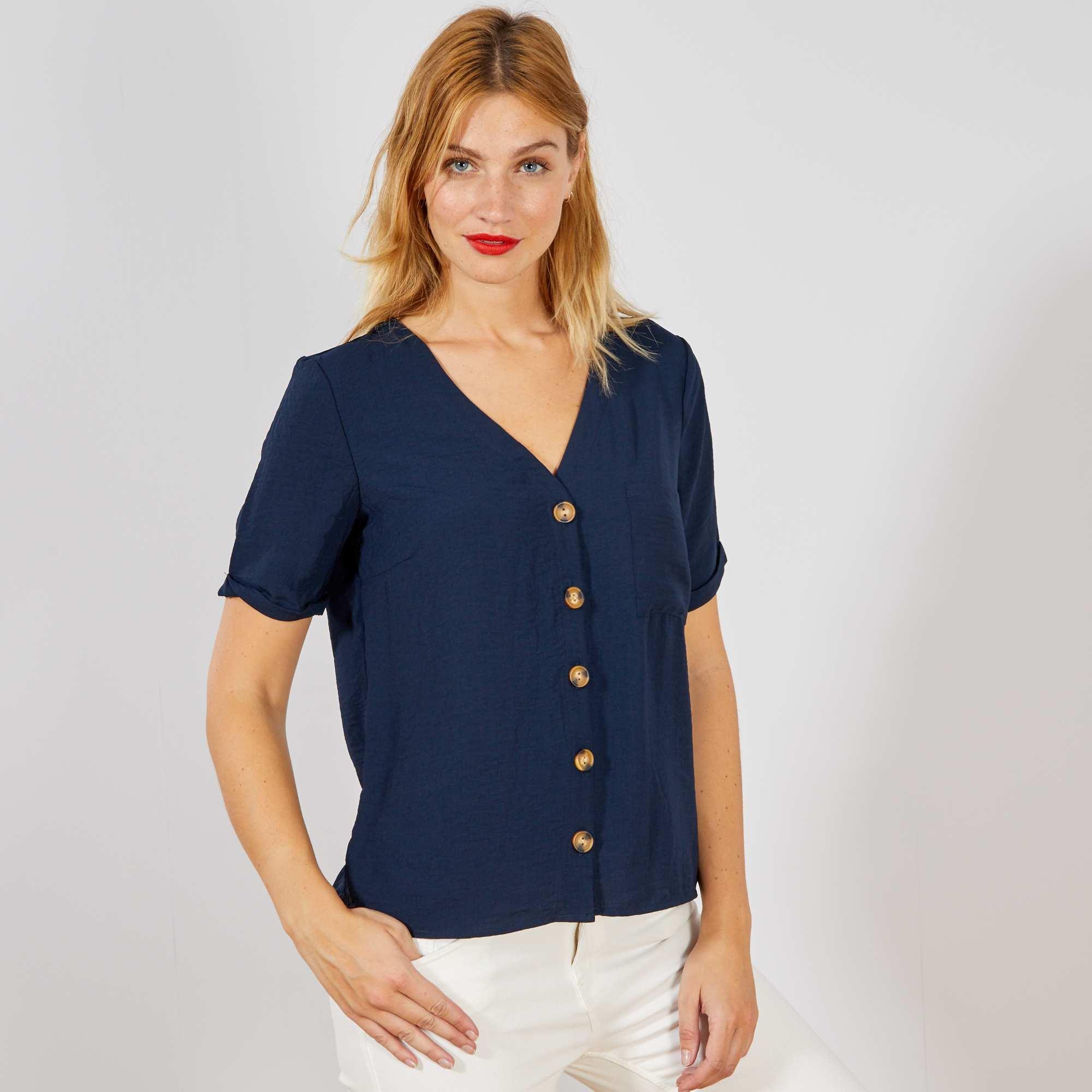 b4d60bb43c Blusa vaporosa con botones AZUL Mujer talla 34 a 48. Loading zoom