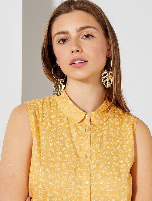 Blusa vaporosa con cuello claudine                                         AMARILLO Mujer talla 34 a 48