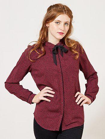 Mujer talla 34 to 48 - Blusa vaporosa con cuello lazado - Kiabi