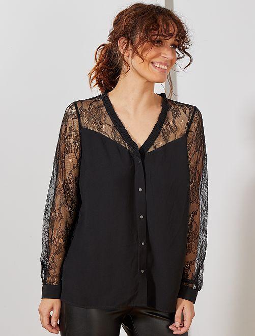 Blusa vaporosa con encaje                                         negro