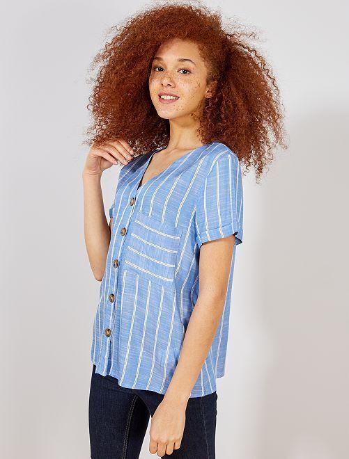 Blusa vaporosa con rayas                                         AZUL Mujer talla 34 a 48