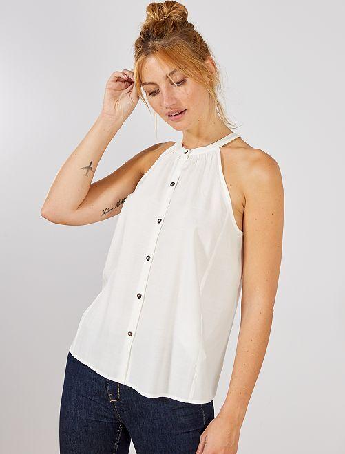 Blusa vaporosa con sisas americanas                                         blanco nieve Mujer talla 34 a 48