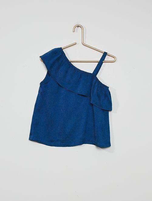 Blusa vaporosa con volante en el hombro                     azul cobalto