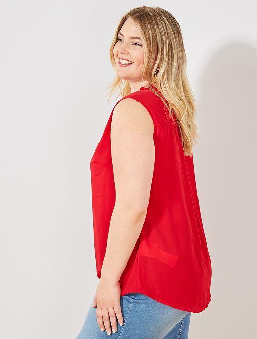 Blusa vaporosa con volantes en el cuello                                                                                                                             rojo Tallas grandes mujer