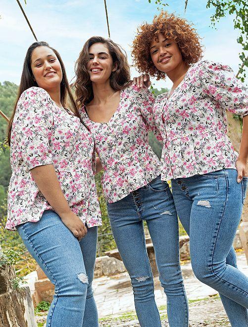 Blusa vaporosa de flores                             BLANCO/rosa