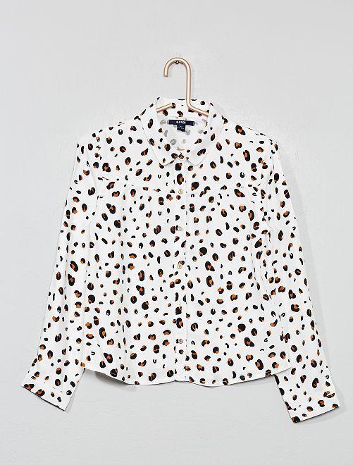 Blusa vaporosa de leopardo                             BEIGE Chica