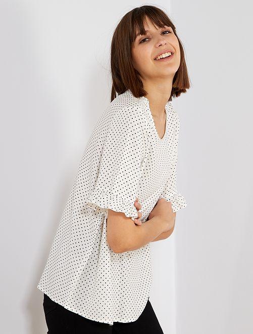 Blusa vaporosa de lunares 'JDY'                                         blanco Mujer talla 34 a 48
