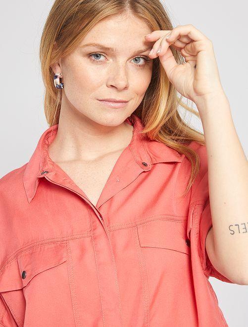 Blusa vaporosa de lyocell                                                                 rosa naranja