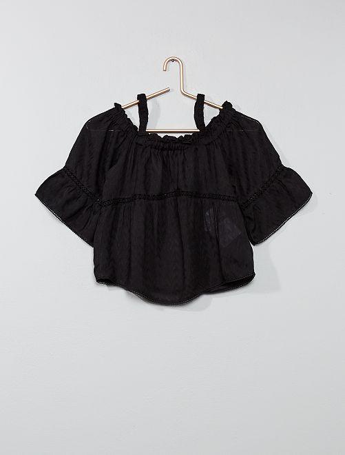 Blusa vaporosa de macramé                             negro Joven niña