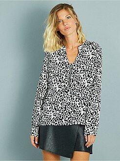 Tops, blusas - Blusa vaporosa de punto de crepé con cuello de cremallera