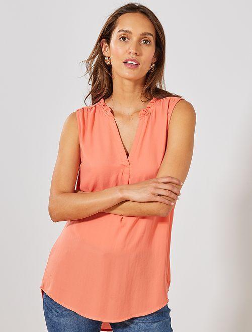 Blusa vaporosa estampada                                                                                         naranja coral Mujer talla 34 a 48