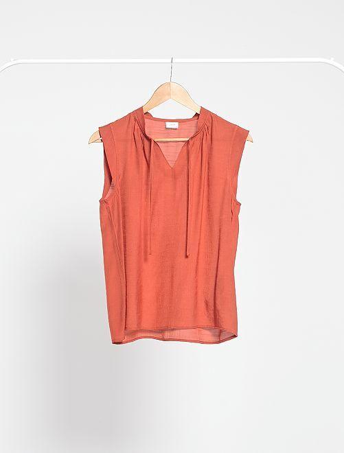 Blusa vaporosa sin mangas 'JDY'                             rojo teja