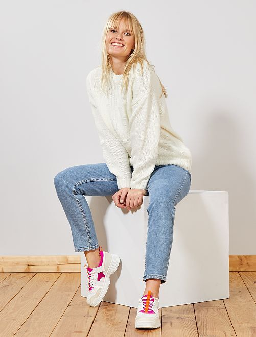 Bobble-effect knitted sweater                                                                 blanco nieve Mujer talla 34 a 48