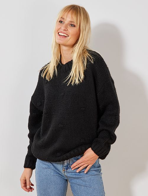 Bobble-effect knitted sweater                                                                 negro Mujer talla 34 a 48
