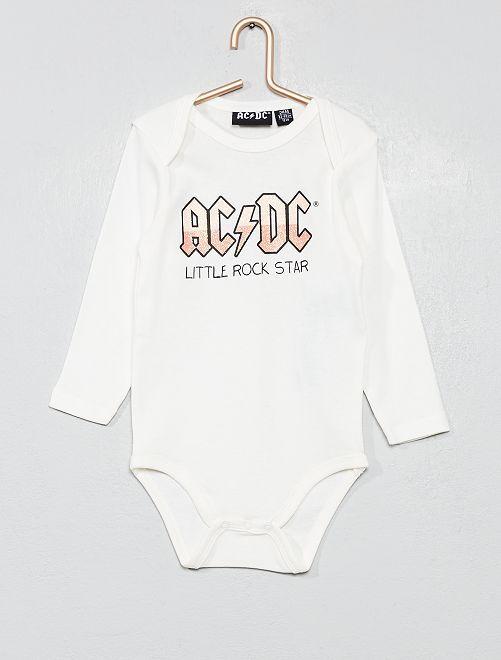 Body algodón puro 'ACDC'                             BLANCO Bebé niña