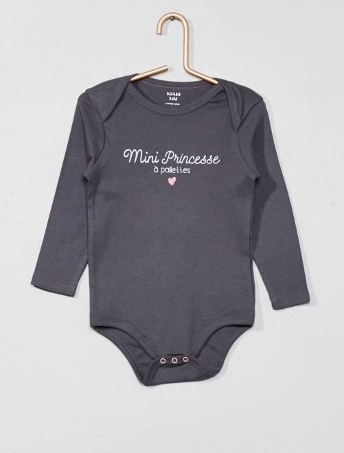 Body con mensaje estampado                                         GRIS Bebé niña