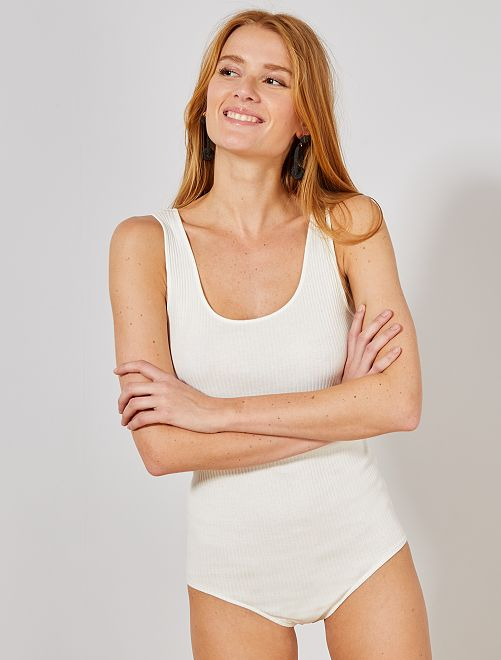 Body de punto de canalé                     blanco nieve Mujer talla 34 a 48
