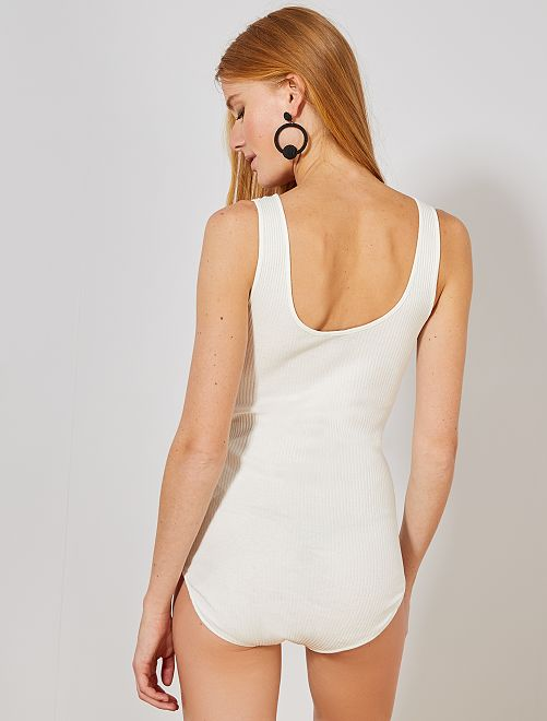 6d15a164d Body de punto de canalé Mujer talla 34 a 48 - blanco nieve - Kiabi ...