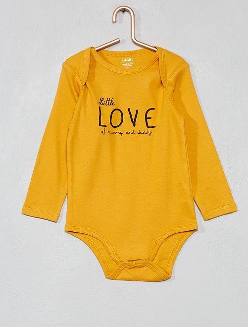 Body estampado de algodón orgánico                                                     AMARILLO Bebé niño
