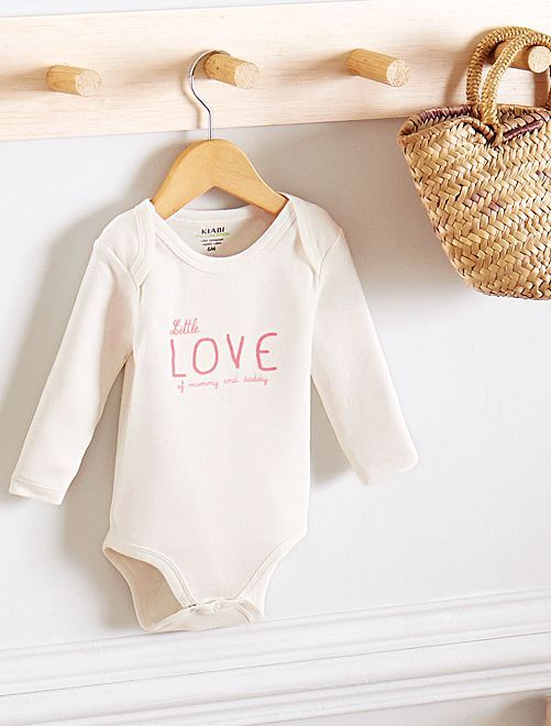 Body estampado de algodón orgánico                                                                                         BLANCO Bebé niña