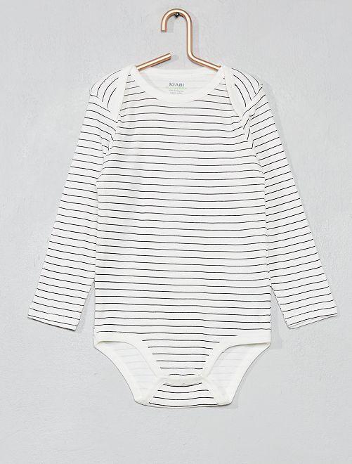 Body estampado de algodón orgánico                                                                                         BLANCO Bebé niño