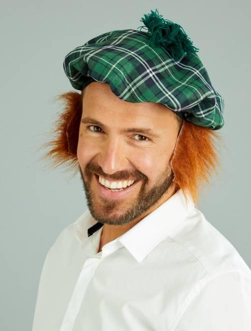 Boina escocesa con peluca incorporada                             verde Hombre