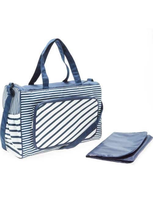 Bolso cambiador marinero + colchón                             azul Bebé niño
