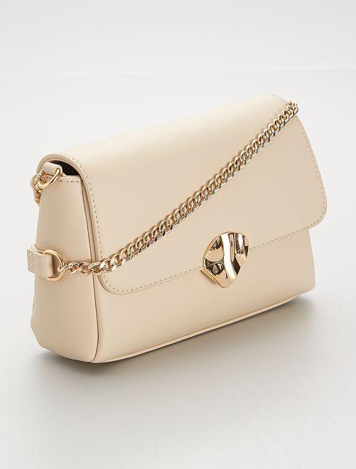 Bolso de mano con cierre dorado                                         beige