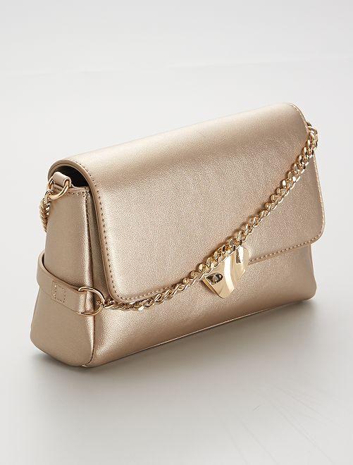 Bolso de mano con cierre dorado                                         dorado