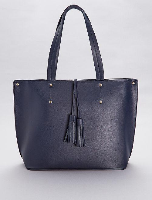 Bolso shopper con borlas                                         azul navy Mujer talla 34 a 48