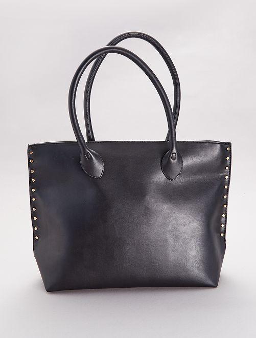 Bolso shopper con tachuelas                             negro