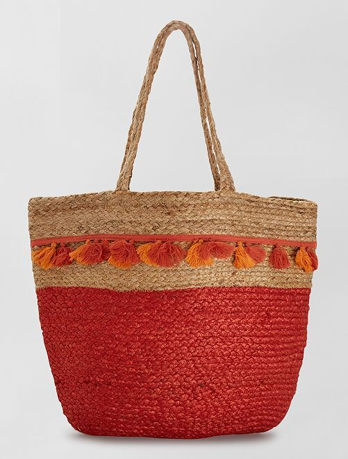 Bolso shopper de tela de yute bicolor                                         rojo teja